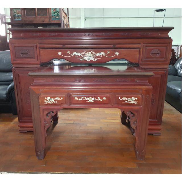 紅木鑲貝實木神明上下桌組合 一格二手家具 廳堂實木家具 懷舊時尚