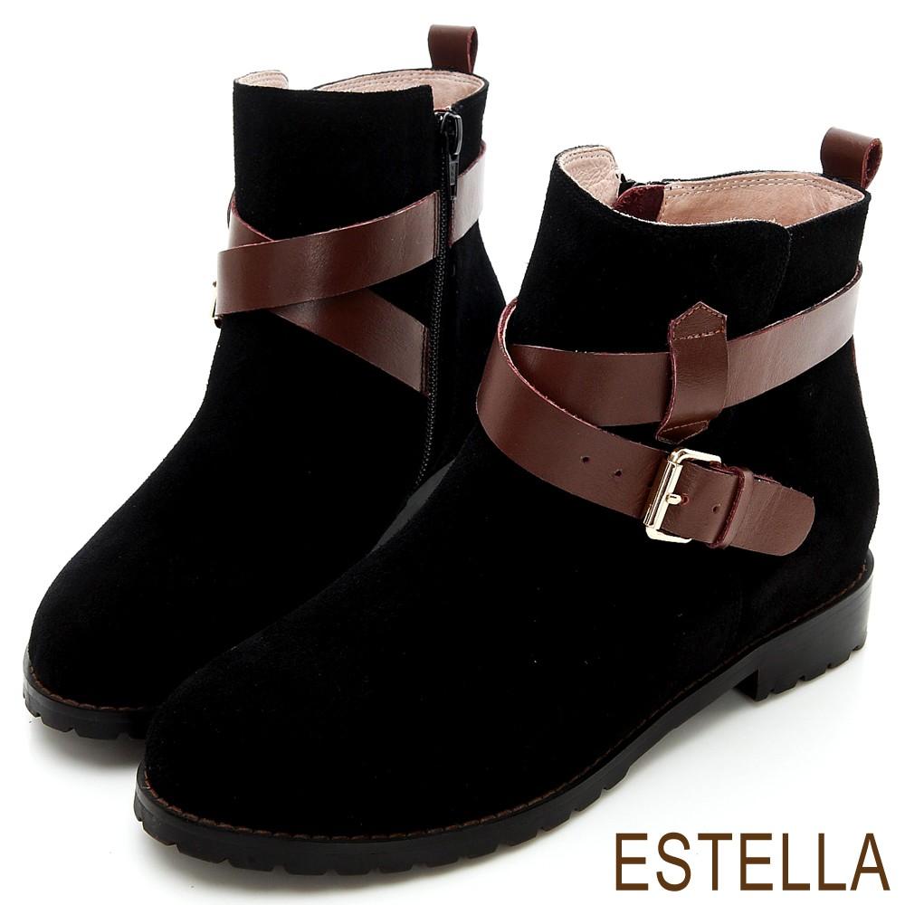 ESTELLA-全真皮釦環交叉皮帶短靴-黑