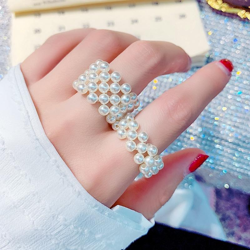 [HOT]日韓時尚簡約大方珍珠編織彈力圈戒指戒指戒指女氣質多排圈女[JDR]