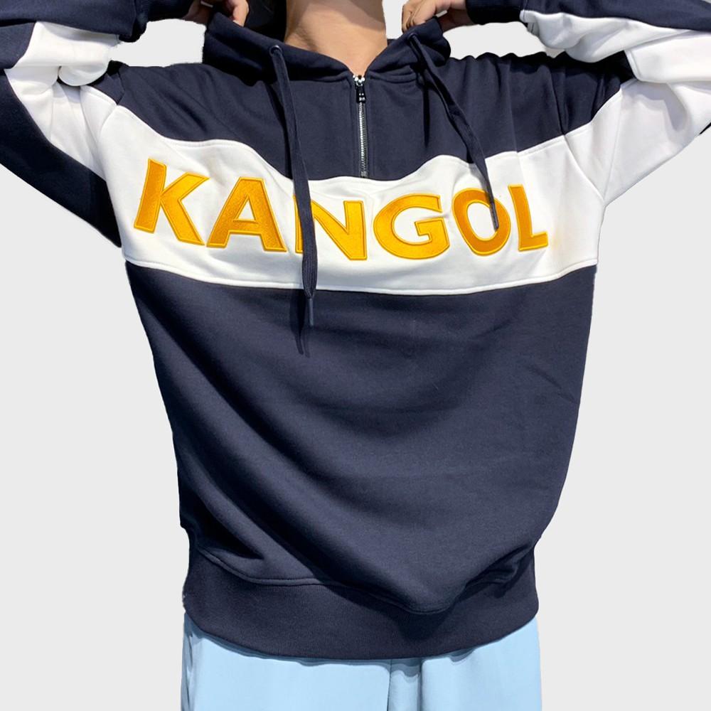 KANGOL 藍 男女 半開襟 拉鍊 長袖帽T 6055106880