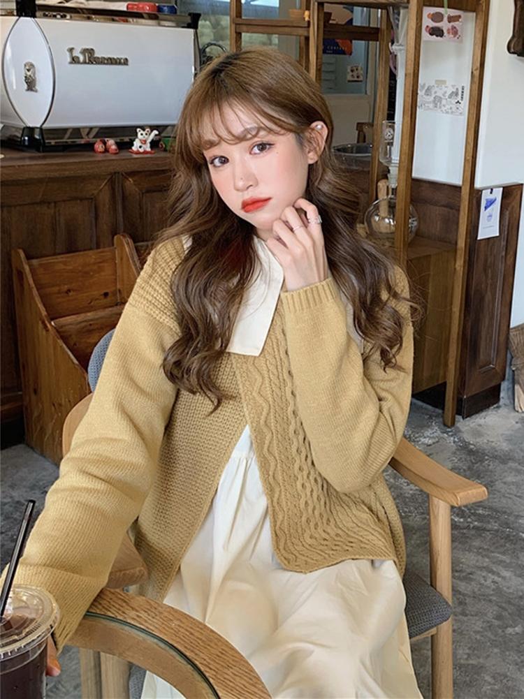 秋冬韓版2021新款寬鬆設計感不規則時尚百搭長袖針織毛衣上衣女裝