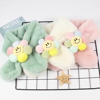 【悅好】兒童可愛洋氣花朵圍巾秋冬季毛絨親子可愛卡通仿兔毛寶寶雲朵圍脖男童女童毛毛