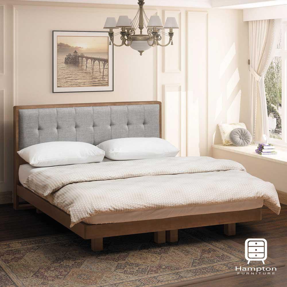 【Hampton 漢汀堡】奧布里系列淺胡桃6尺雙人床組(雙人床/床組/床/床架)