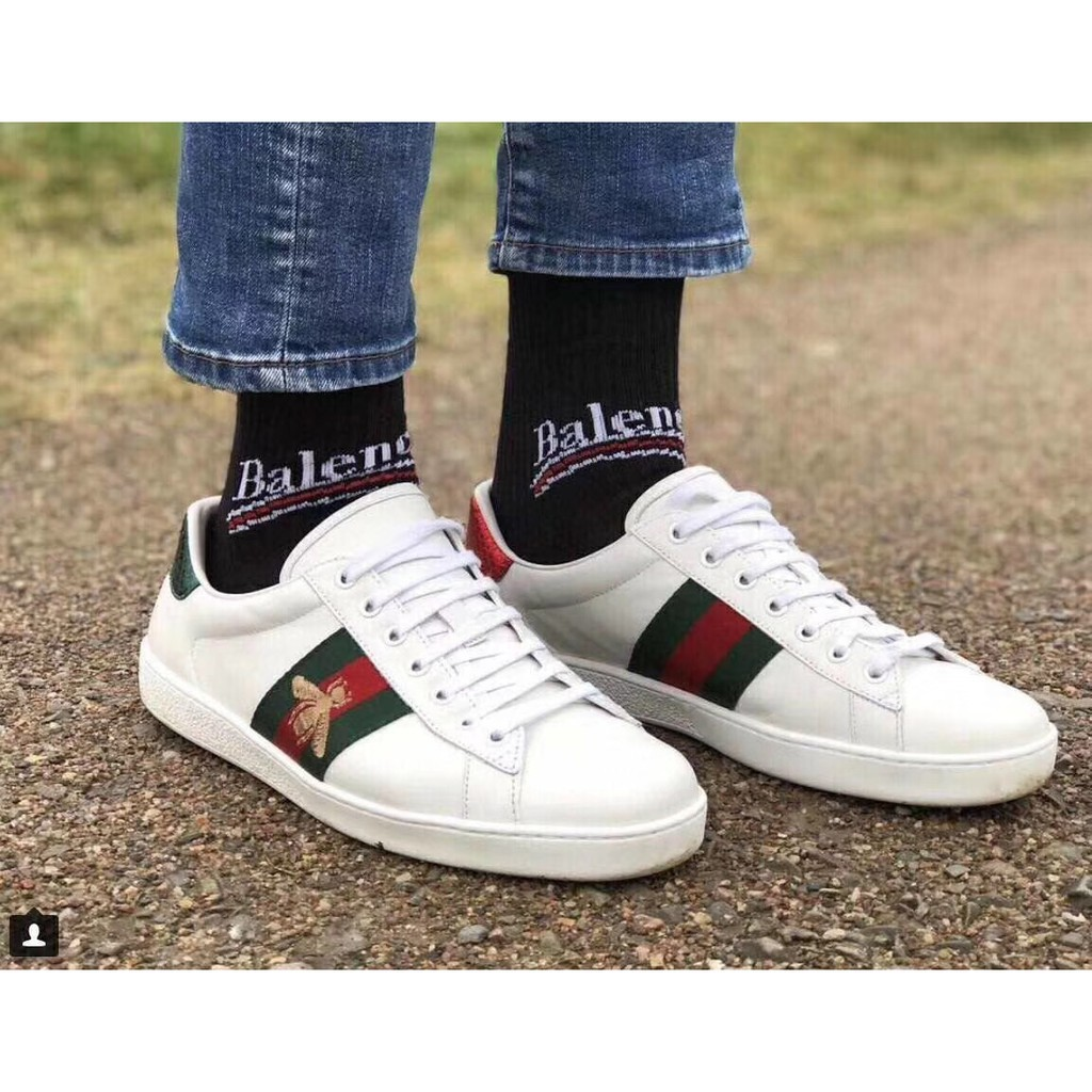 《Y》GUCCI 古馳小蜜蜂鞋子 小白鞋 楊冪明星同款Embroidered Sneaker 蜜蜂鞋 小白鞋 男女款 白