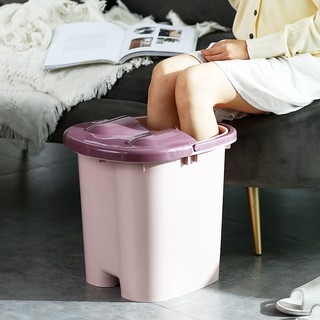 【台灣快速出貨】家用帶按摩輪泡腳桶加厚塑料足浴桶塑料帶蓋便攜泡腳神器洗腳盆【優惠商家】