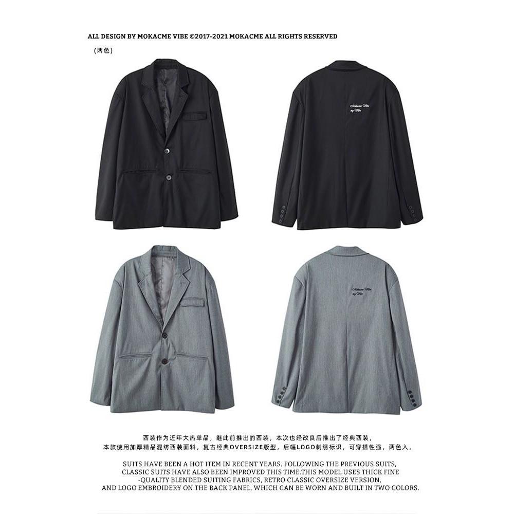 MOKACME 20FW 復古刺繡西裝外套 黑/灰