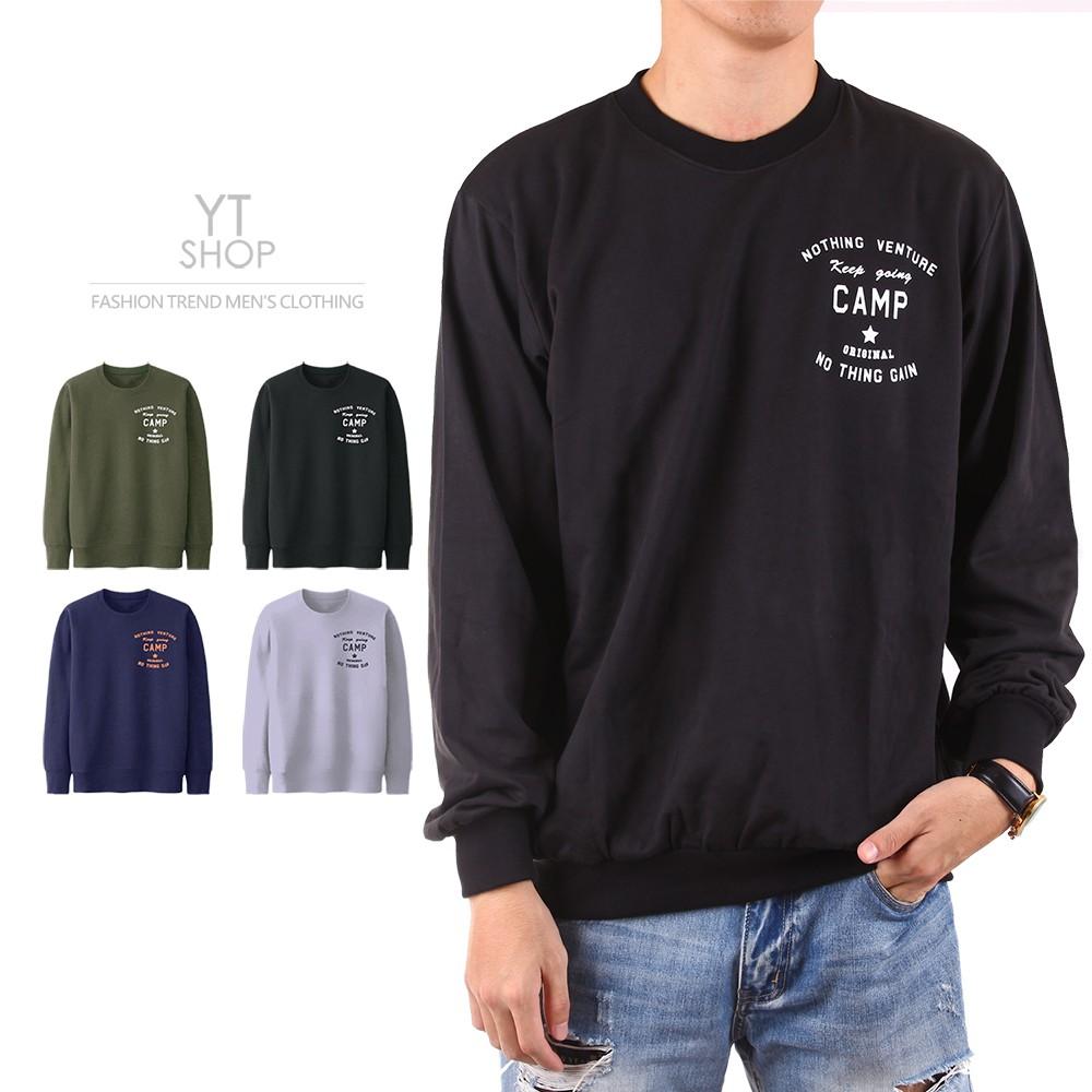 YT SHOP【台灣製造 不起毛球 情侶T】 高磅 純棉 小絨布 長袖T恤 大學T 衛衣 四色