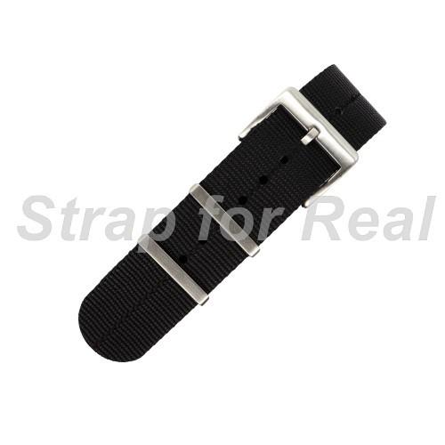 1.1mm厚 全新NATO軍用尼龍錶帶 橫紋編織 輕薄柔軟 黑色