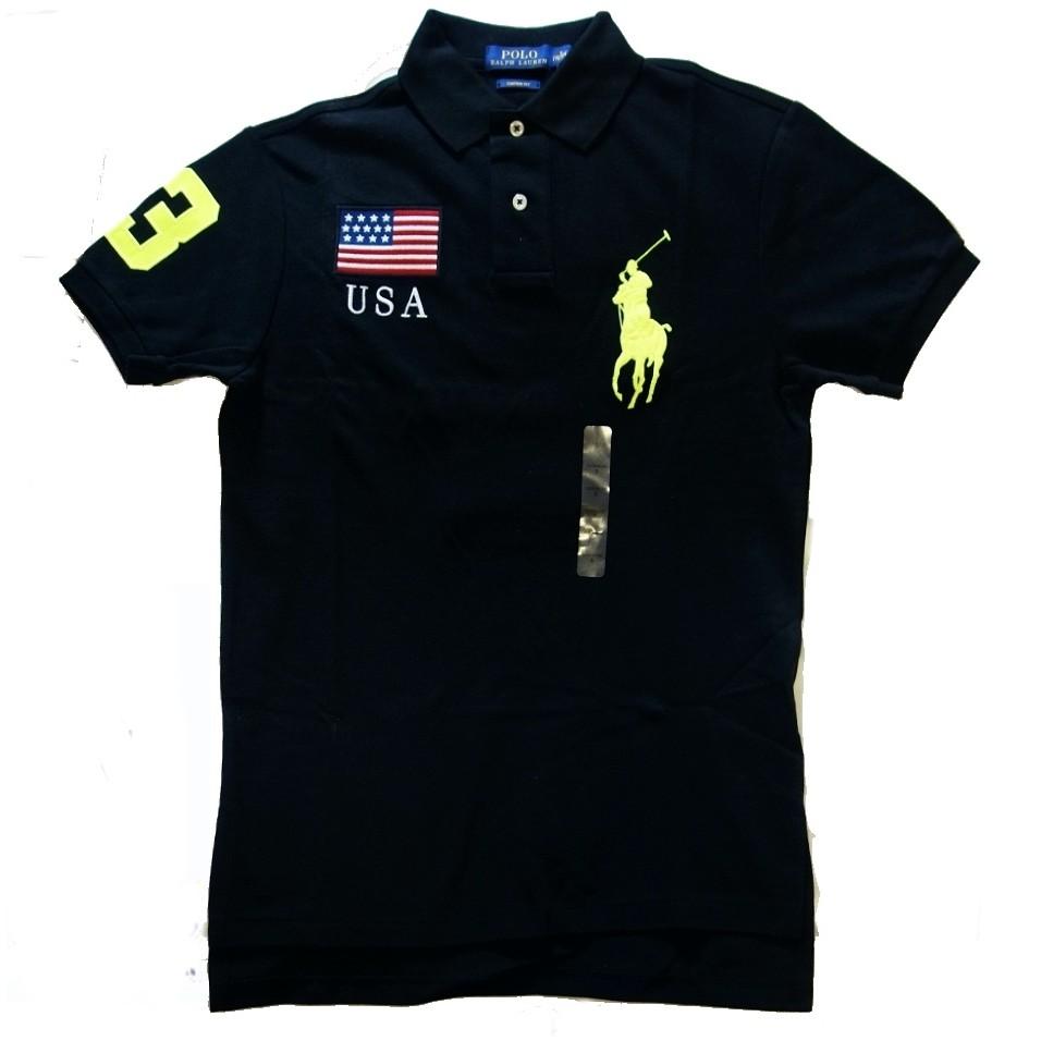 Polo Ralph Lauren RL 短袖 POLO 衫 黑色 螢光大馬 美國旗 S 【以靡賣場 專櫃正品】
