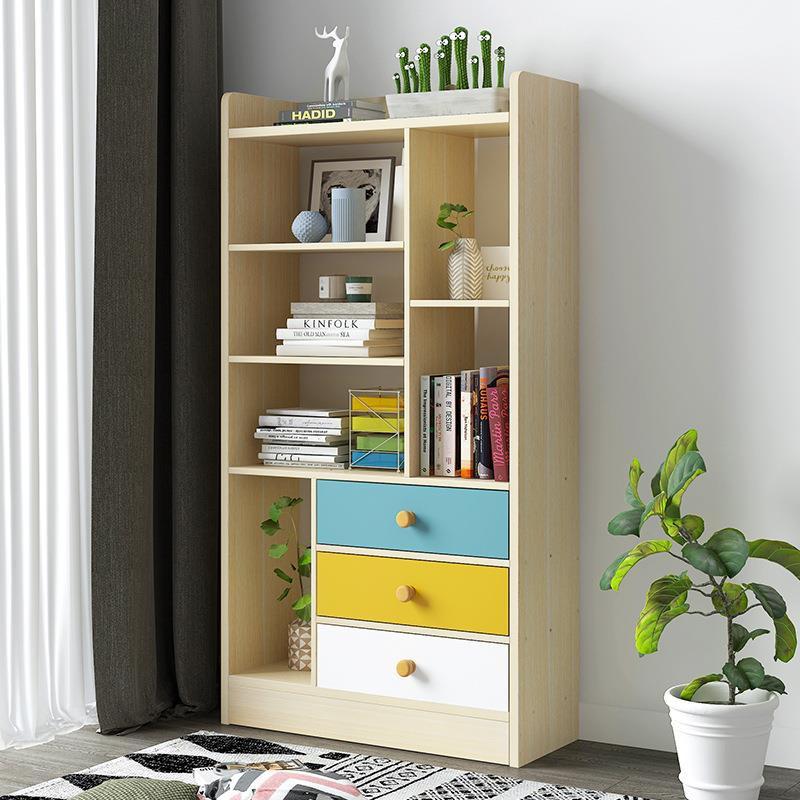 書架簡易落地書柜創意小儲物柜書房小柜子現代簡約收納架置物架子