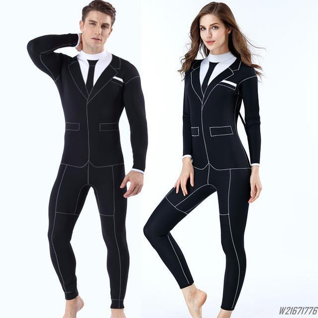 男女3MM連體潛水服 加厚3mm防寒衣 保暖水母衣 個性西裝款 戶外浮潛服 衝浪衣/W21671776