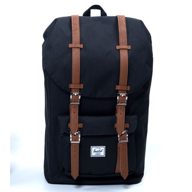 Herschel Little America 大型 黑色 磁扣 皮革帶 筆電層 大容量 帆布 後背包 背包 現貨