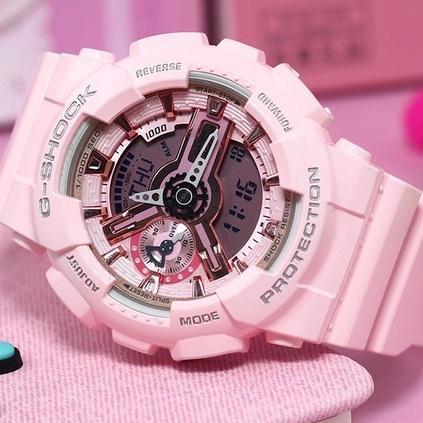 卡西歐運動手錶女 學生款電子錶babyg旗艦限量BA-110RG櫻花粉