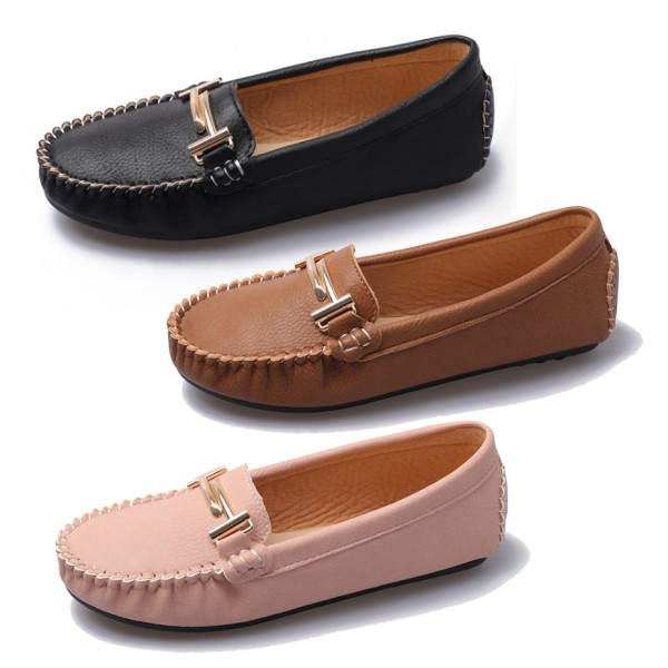【白鳥麗子】豆豆鞋 MIT經典百搭金屬扣樂福抓褶平底圓頭包鞋