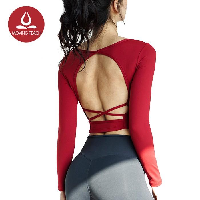 MOVING PEACH 女運動長袖自帶胸墊美背交叉鏤空瑜伽服健身上衣 ASM