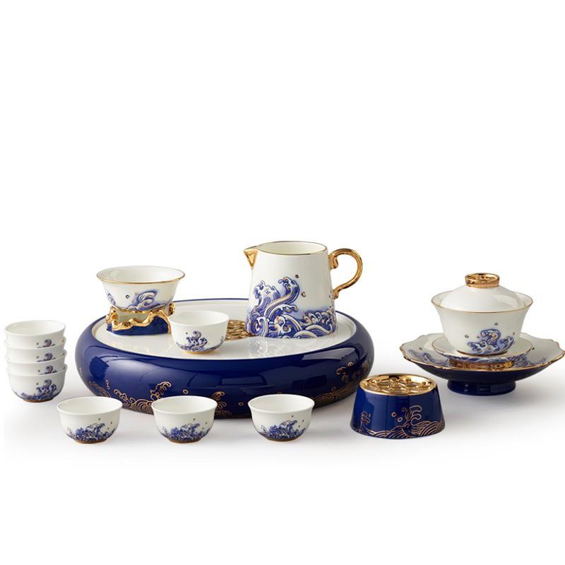 5Cgo國瓷18頭陶瓷功夫茶具套裝蓋碗茶杯茶壺盤中式功夫茶具有釉中彩釉中金強化瓷風雅大方手工描金571604377558