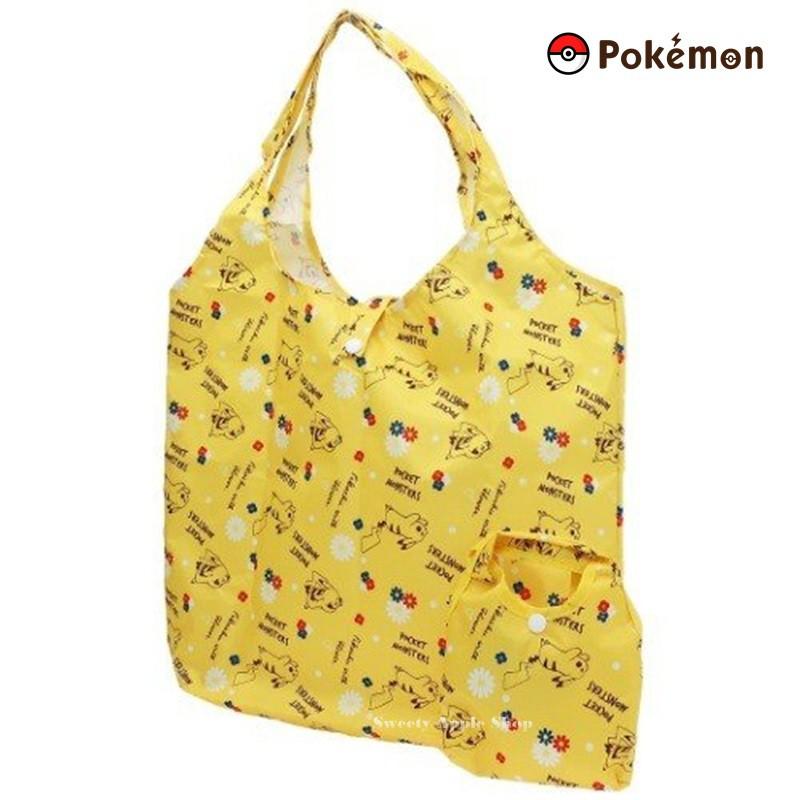 寶可夢【SAS 日本限定】 皮卡丘 小花英字滿版 折疊收納式 購物袋 / 環保袋 /手提袋 (黃色)