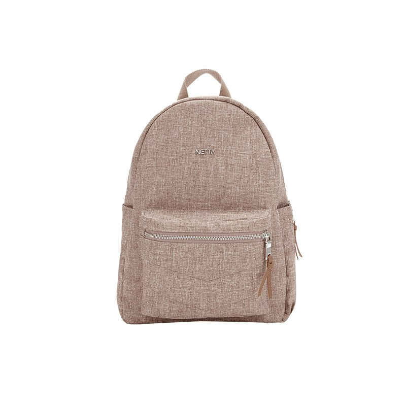 多口袋後背包 / 小麥色 / 設計感簡約金屬城市包