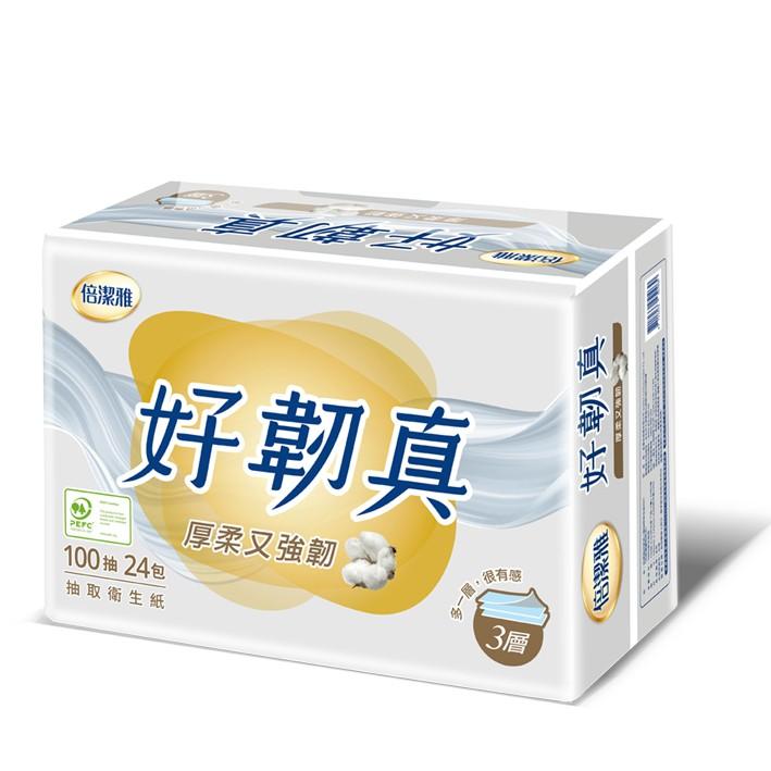 倍潔雅好韌真3層抽取式衛生紙100抽x24包【愛買】