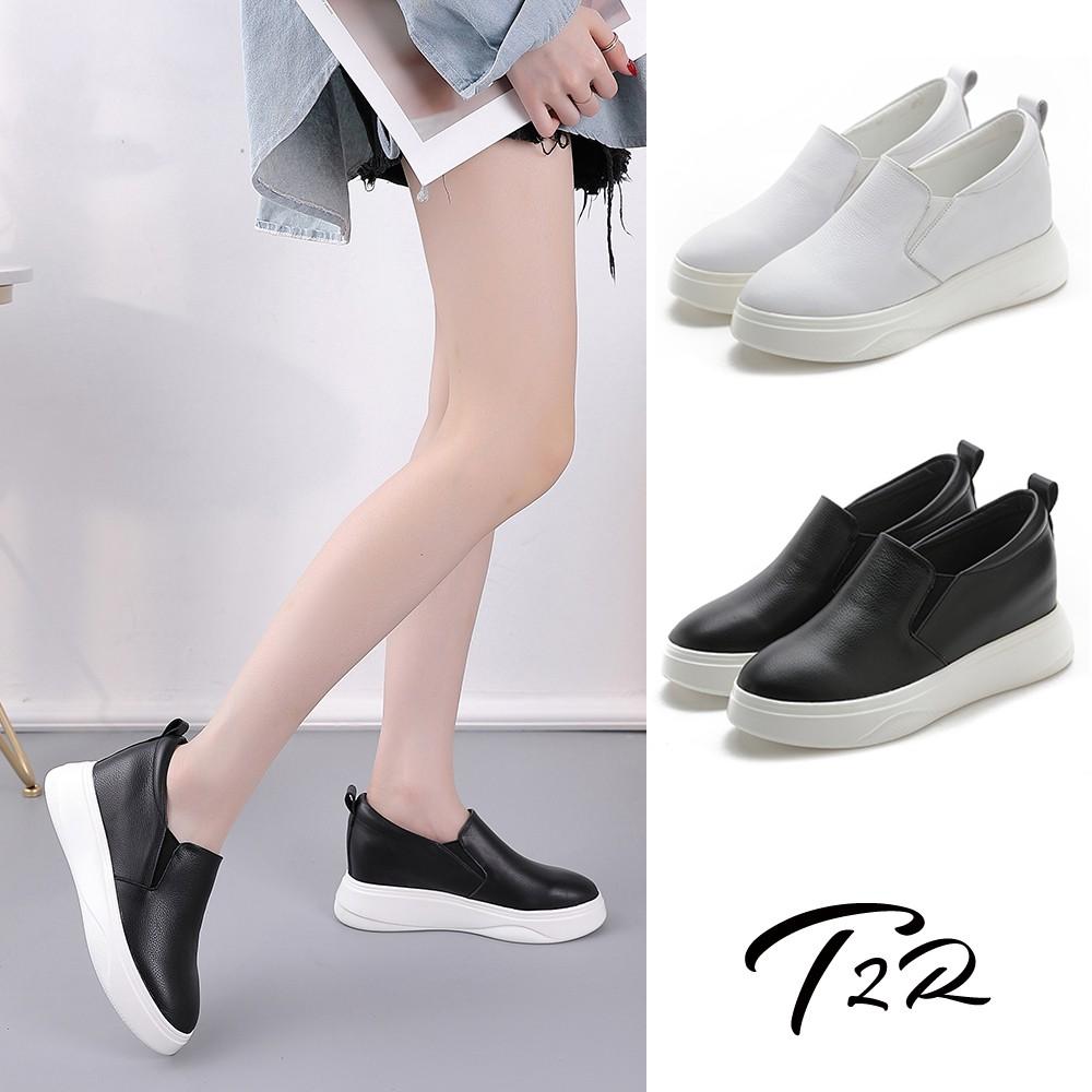 【T2R】正韓空運-增高鞋真皮防滑內增高厚底樂福鞋-7.5cm_黑/白(5985-1997/5985-1998)