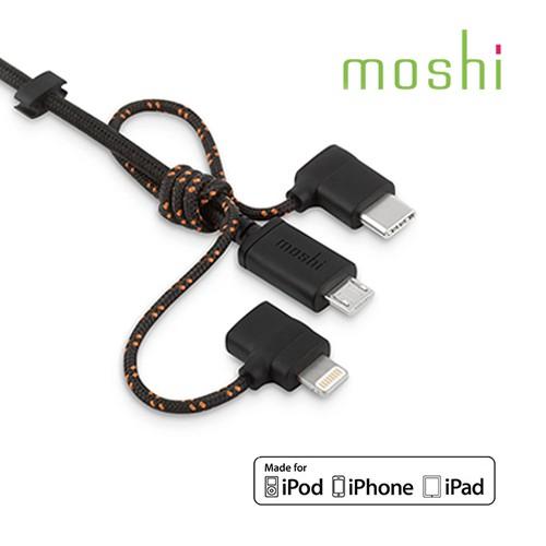 moshi MFI 認證 3合1 萬用 充電線 Lightning USB-C Micro-USB 傳輸線