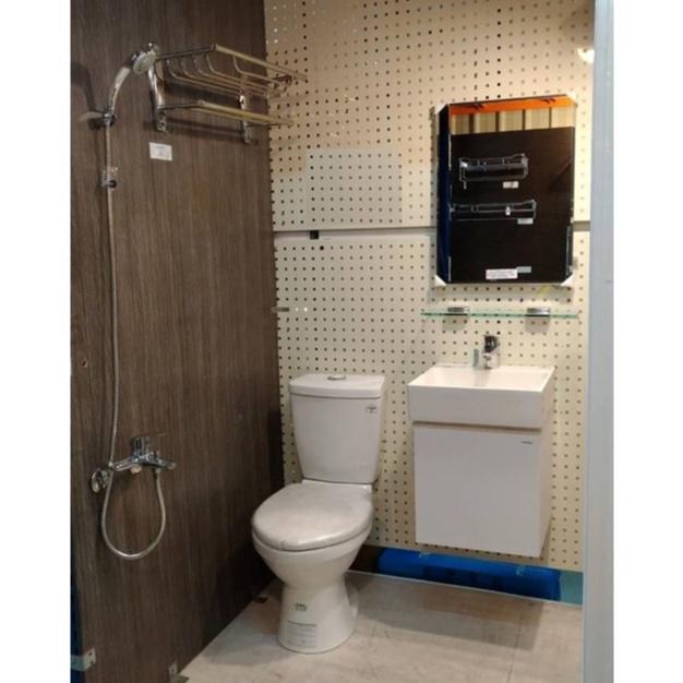 套房六件組  CAESAR凱撒衛浴省水馬桶+凱撒浴櫃+(台製)面盆龍頭+沐浴龍頭+防霧鏡+TW放衣架
