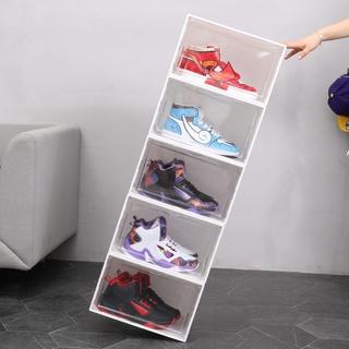 化妝盒飾品收納箱文具收納◊✓☾高幫塑料翻蓋鞋盒學生鞋子防塵收納盒側開磁吸加厚透明組合鞋墻