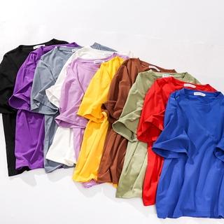 純棉短袖T卹2019早春新款純色純棉短袖T卹寬鬆糖果色學生打底衫女