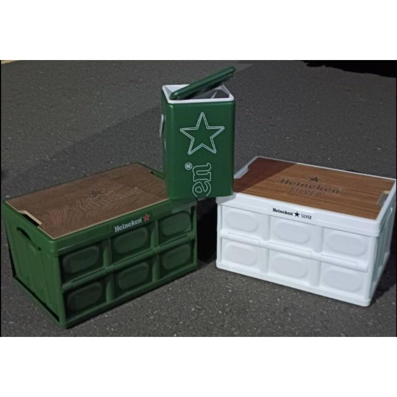 海尼根全星野營摺疊收納箱桌白色款綠色款冰桶送飲料