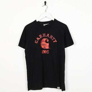 復古 Carhartt 拼出迷彩印花徽標黑色男士 T 卹時尚外套