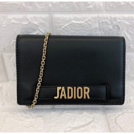 二手正品DIOR Christian Dior 黑色牛皮JADIOR鏈帶WOC 手拿包
