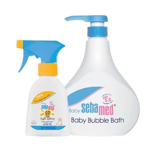 施巴 Sebamed 泡泡浴露(附壓頭)+SPF50嬰兒防曬乳促銷組[免運費]