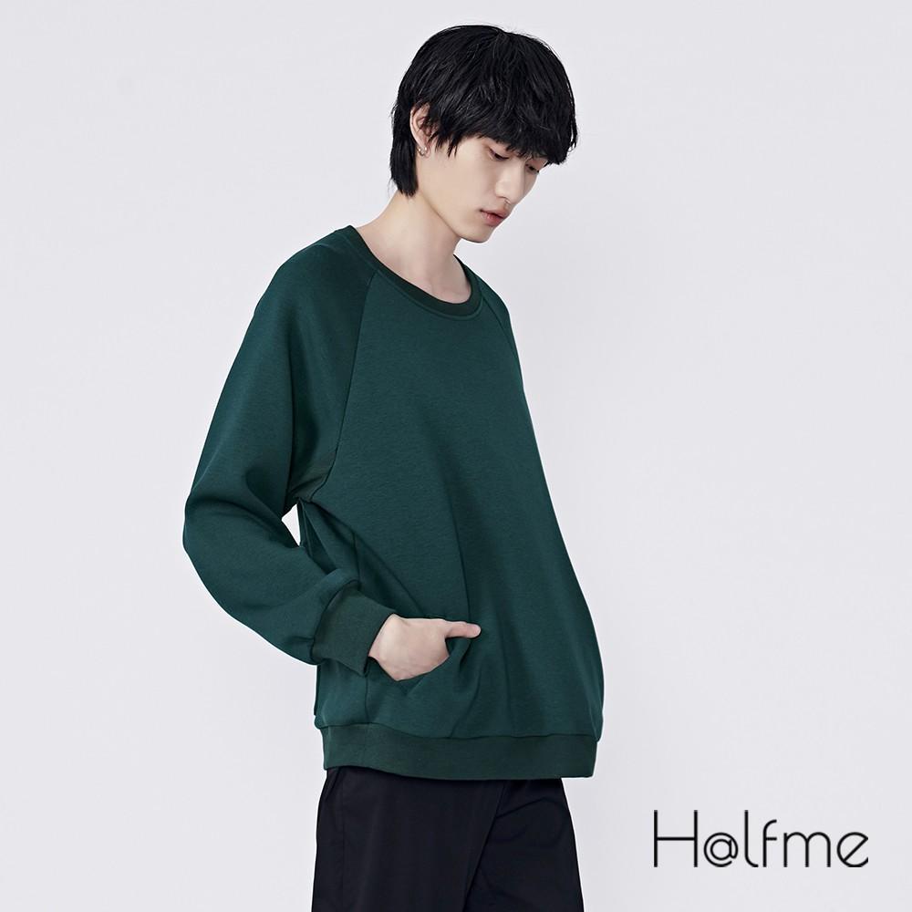 Halfme 素色圓領造型衛衣 - 男
