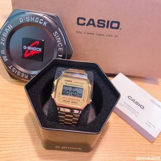 CASIO 腕錶 卡西歐金色復刻版復古潮流金錶 方型數位電子錶中性男女可戴(A-168WG - 9 W)000 手錶 桃園市