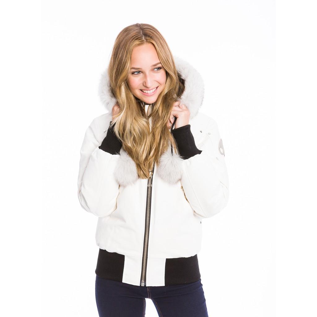 四季出品(國外連線)加拿大國寶級品牌 moose knuckles 女生飛行員jacket 短款收腰羽絨外套
