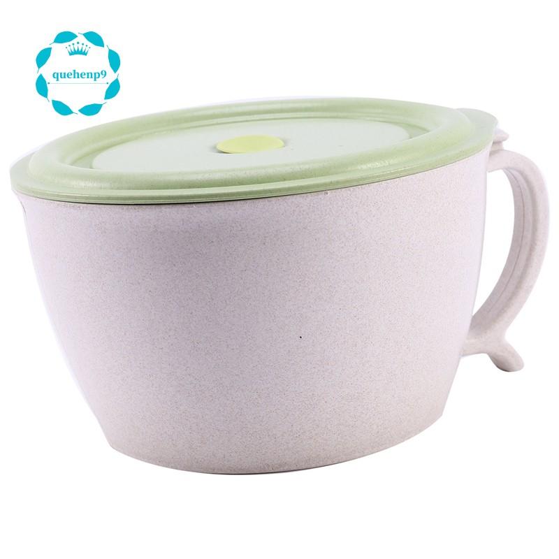 微波爐麵碗帶蓋40歐茲大麥秸稈湯杯帶手機座 - 微波爐洗碗機安全,防漏,湯,麵條,拉麵