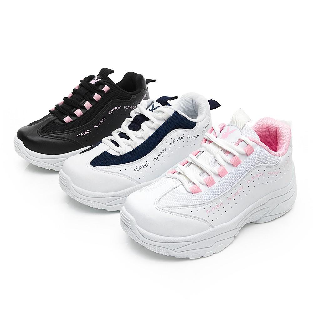 PLAYBOY活力青春流線厚底老爹鞋-白粉/白藍/黑粉(Y6211) 廠商直送 現貨