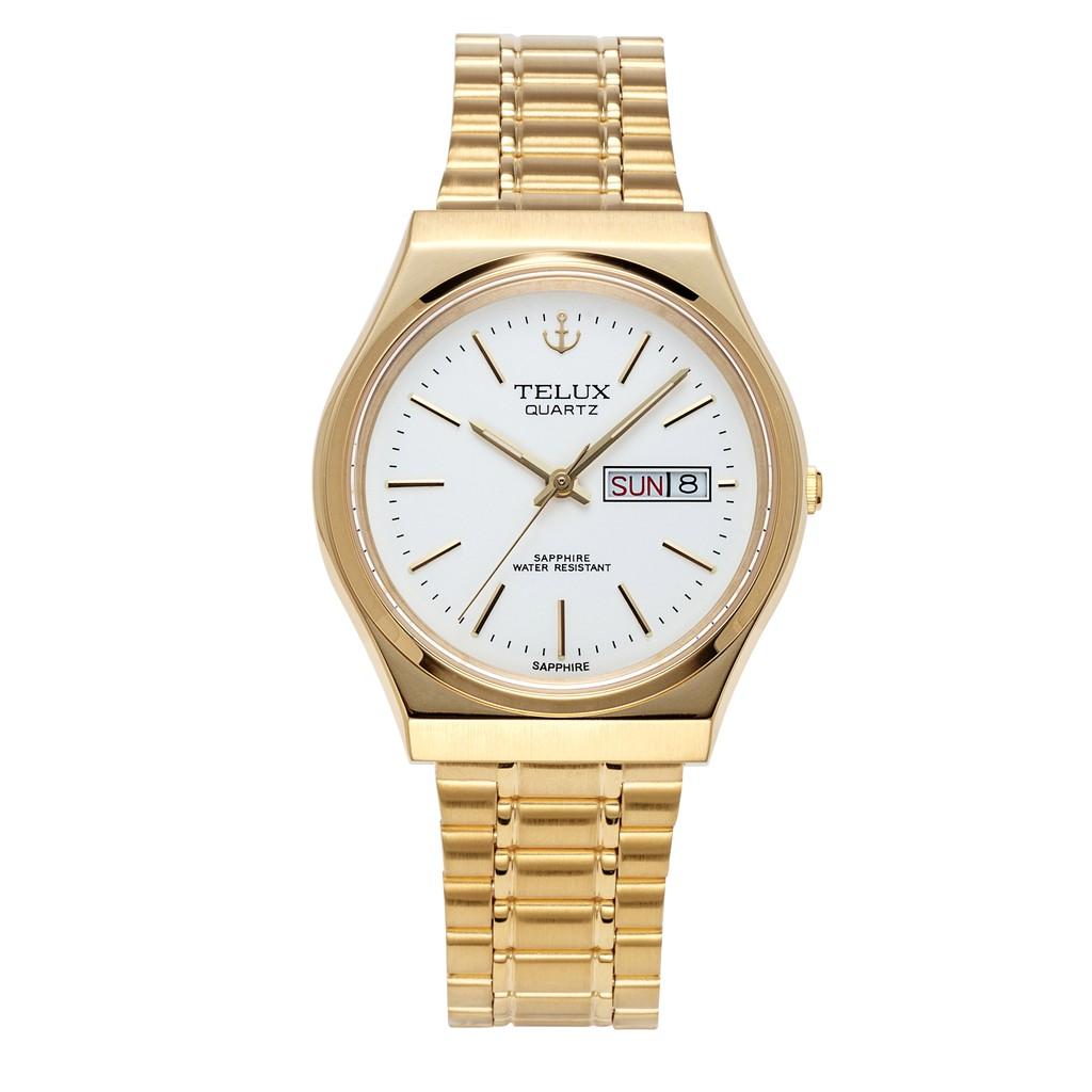 台灣品牌手錶腕錶【TELUX鐵力士】經典簡約腕錶35mm台灣製造石英錶7500G-W12金鋼帶白面