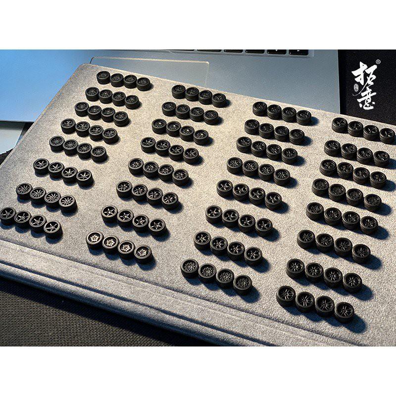 1/64 輪圈 輪轂 二改 拓意出品 1:64 改裝系列 小車改造 輪轂輪胎膠胎 11mm 8JbR