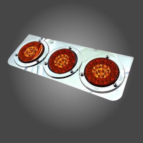『 W.S嘉義之光』電鍍尾燈 白鐵 三圓 24V 爆亮LED後燈 煞車燈/方向燈/警示燈 聯結車 砂石車 卡車 貨車 日