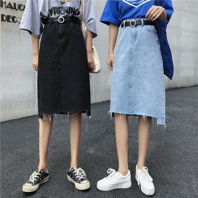 現貨 韓版chic不規則撕邊a字牛仔裙女學生韓版高腰中長款半身裙子
