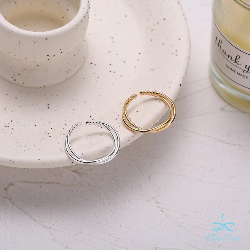 【細線纏繞戒指】925純銀戒指 Chis Store 線條戒指 雙線條 指環 抗過敏 韓國飾品 簡約百搭 可調節戒指