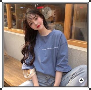 【滿減免運】韓版寬鬆百搭圓領短袖上衣 t恤 短袖女裝 深色顯瘦寬鬆上衣 素T