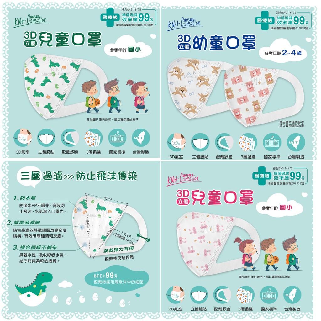 ⚡ 康乃馨 3D幼童醫療口罩【康那香】限時搶購【台灣製造】 立體口罩 康那香 KNH (5片X6包/盒)