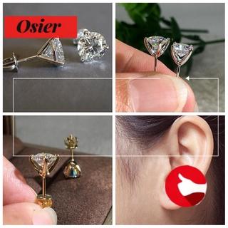 Osier New Martini 1ct 耳釘女士男士圓形鑽石三爪耳環訂婚時尚穿孔閃亮珠寶禮物鋯石