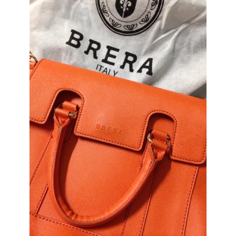 BRERA Italy 肩背包 橘 側背包 郵差包 凱莉包 手提 專櫃正品