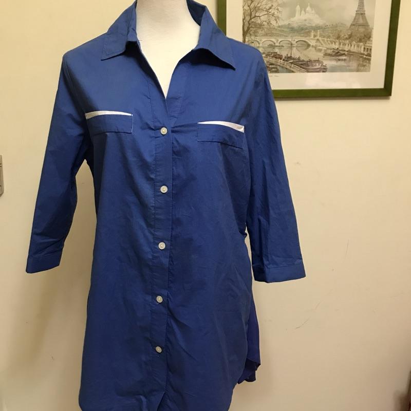 ❤️寶藍襯衫拼接唯美百摺雪紡,絕美修飾❤️