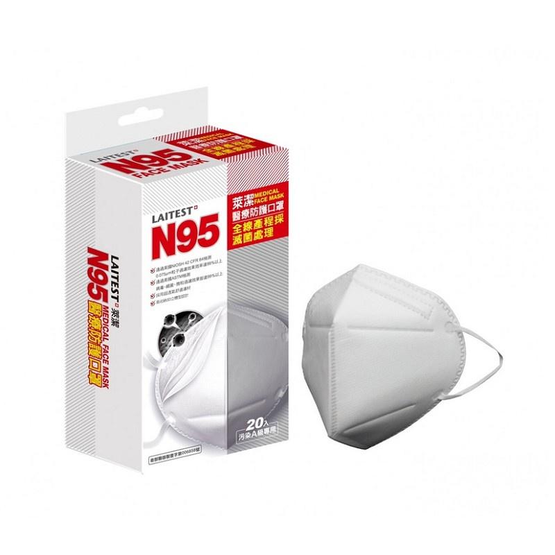 【LAITEST 萊潔】成人N95防護口罩-白 (20入/盒)