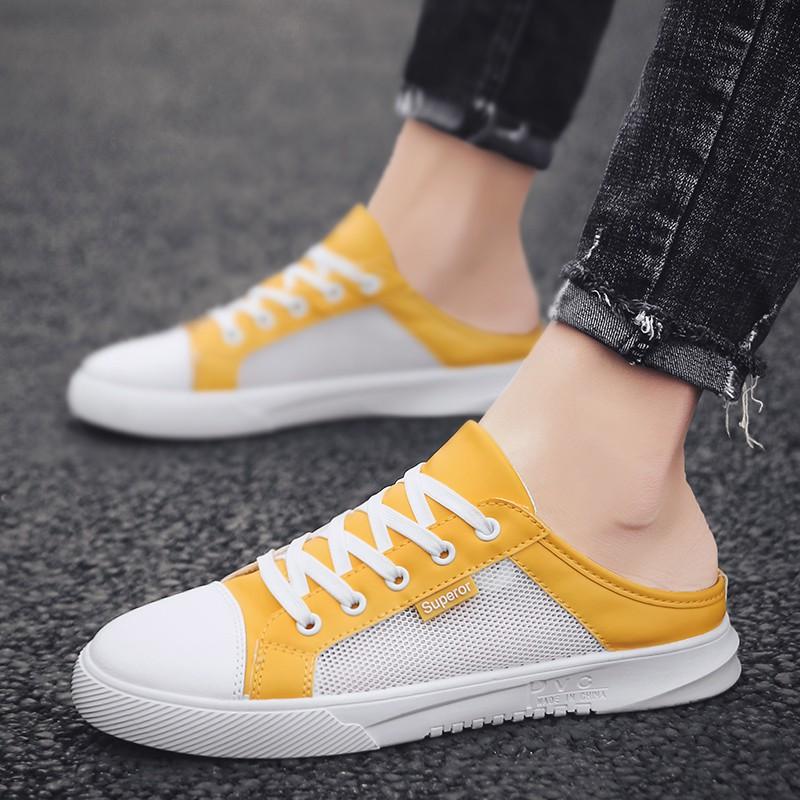 夏季半帆布鞋男鞋韓版休閒鞋鞋懶人鞋
