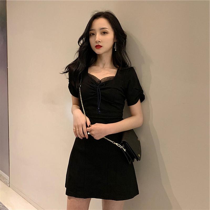 A字小洋裝短袖黑色顯瘦連身裙